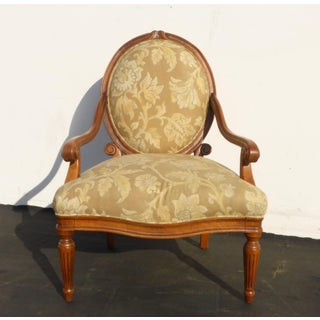 Designer Sam Moore Vintage French Country Round Back Floral Design Arm Chair Preview