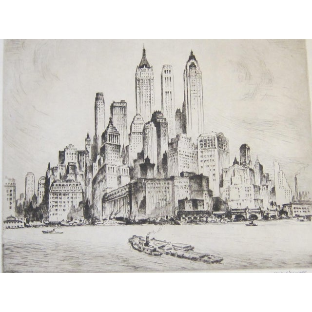 """Mid-Century Modern Vintage Nat Lowell """"Tip of Manhattan"""" Ca. 1940 Signed Limited Edition Etching the Battery, Lower Manhattan, Original Label, Professionally Conserved For Sale - Image 3 of 8"""