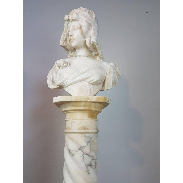 19th Century Italian A. Cipriani Carrara Marble Bust of a Young Woman Sculpture For Sale - Image 4 of 13