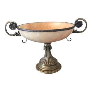 1930s Art Nouveau Alabaster and Brass Decorative Bowl