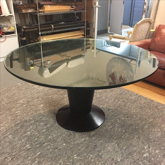 Contemporary Glass Top Pedestal Dining Table - Image 2 of 8