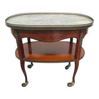 French Marble-Top, Two-Tier Rolling Bar Cart For Sale