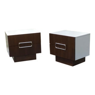 Vintage Mid-Century Walnut Nightstands - A Pair For Sale