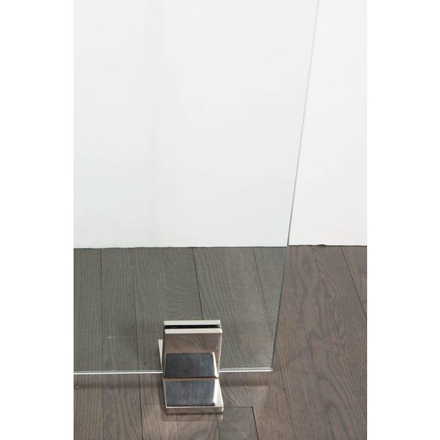 Modern Custom Modern Tempered Glass Fire Screen with Polished Nickel Strip and Feet For Sale - Image 3 of 9