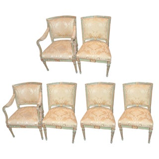Directoire Painted & Gilded Dining Chairs - Set of 6