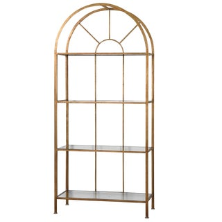 Curved Gold Metal Arch Bookshelf For Sale