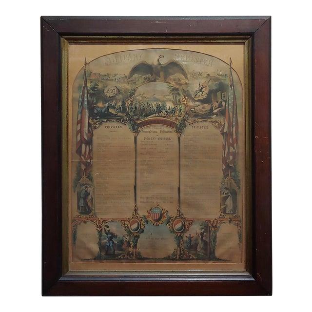 Civil War 1864 Military Register Pennsylvania Company E Manifesto For Sale