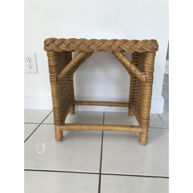 1970s 1970s Boho Chic Walters Wicker Trio of Wicker Side Tables - Set of 3 For Sale - Image 5 of 7