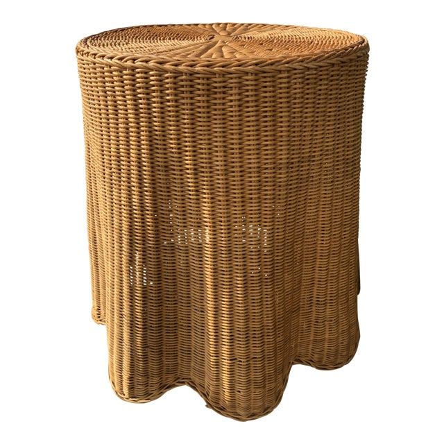 1970s Mid-Century Modern Trompe l'Oeil Rattan Ghost Side Table For Sale