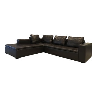 BoConcepts Modular Espresso Leather Sofa For Sale