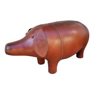 Large Leather Pig Footstool