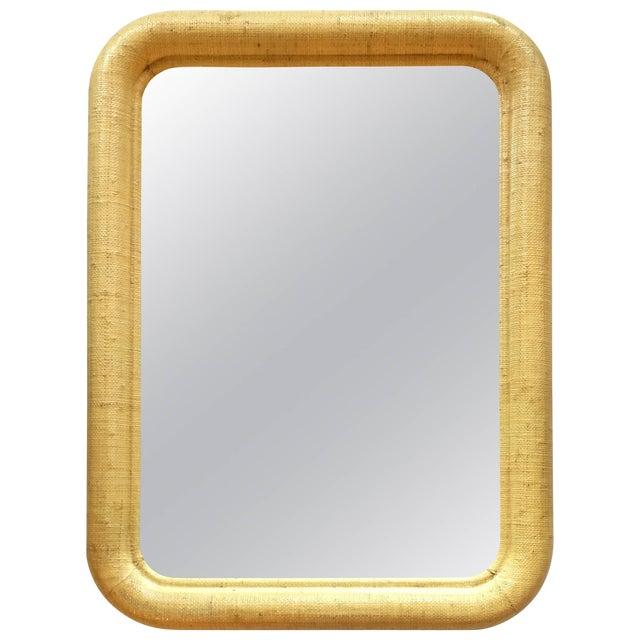 Karl Springer Style Palm Regency Style Raffia Mirror For Sale