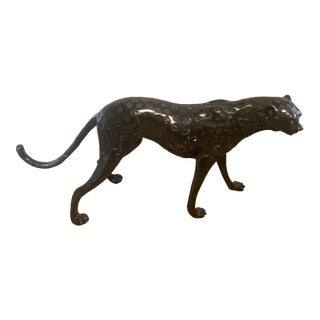 Life-Size Cast Bronze Cheetah Figure For Sale
