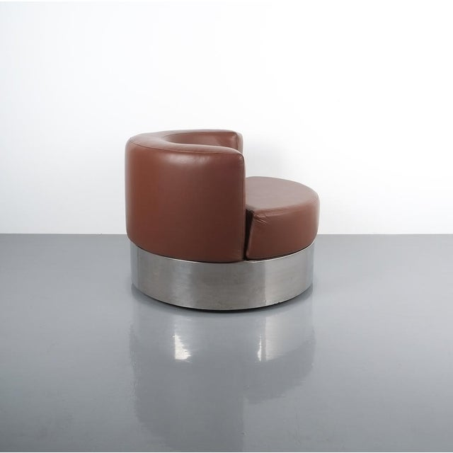 Rare Franco Fraschini brown leather chair for Driade, Italy, 1965. Stylish geometrical leather chair on a chrome base or...