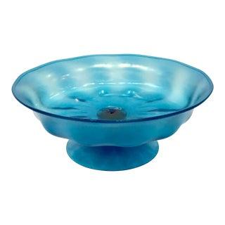 Art Deco Steuben Blue Iridescent Art Glass Pedestal Decorative Bowl For Sale