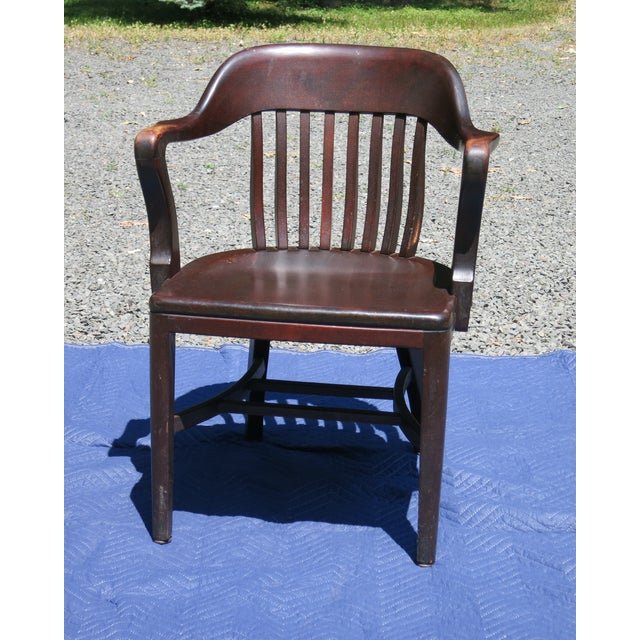 1920s Antique Bankers Chair For Sale - Image 9 of 9