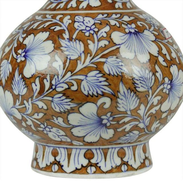 Floral Brown Jaipur Vase For Sale - Image 4 of 4