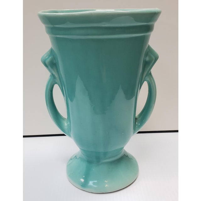 Art Deco 1930's American Art Deco Turquoise Double Handled Vase For Sale - Image 3 of 7