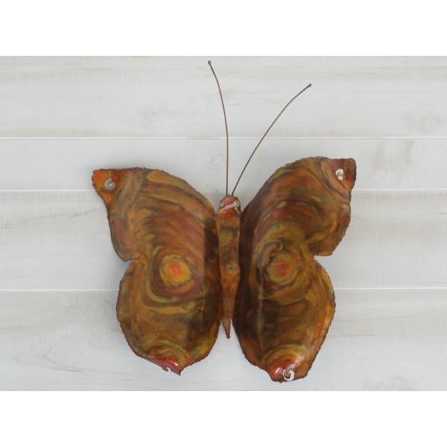 Contemporary Mid-Century Modern Signed by Artist Copper Butterfly Metal Wall Sculpture For Sale - Image 3 of 13