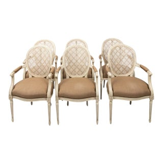 Caned and Upholstered Dining Chairs - Set of 6 For Sale