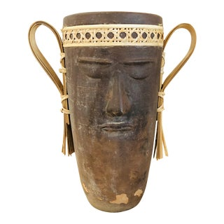 Vintage Mexican Clay and Rattan Vase With Face For Sale