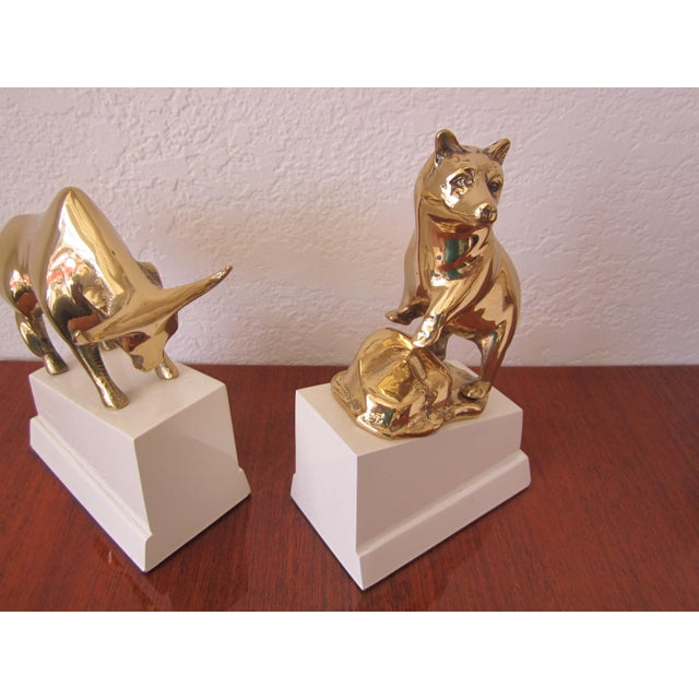 Brass Polished Brass Bull and Standing Bear Bookends on Lacquered Blocks For Sale - Image 7 of 7