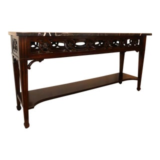Century Furniture Transitional Mahogany Pierced Apron Console For Sale