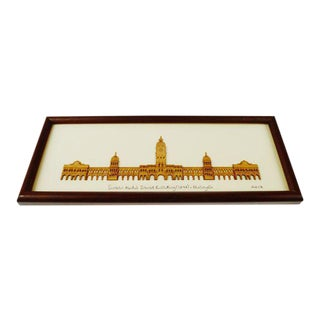 Vintage Arch Framed 2 - D Wood Art of Kuala Lumpur, Malaysia Sultan Abdul Samad Building 1897 For Sale