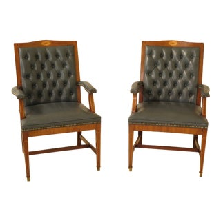 Federal Style Tufted Blue Leather Office Chairs - a Pair