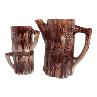 Faux Bois Majolica Beverage Set For Sale