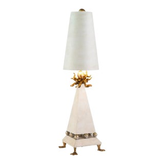 Leda Table Lamp in a Weathered White Finish For Sale