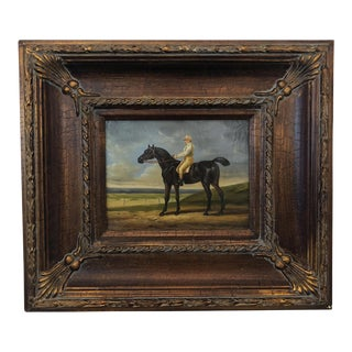 Late 20th Century Framed Horse & Jockey Painting For Sale