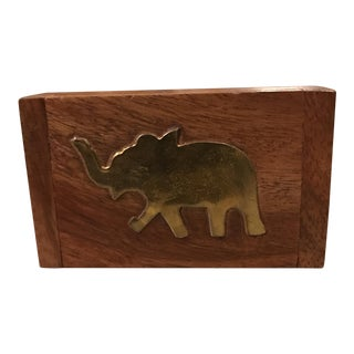 Wood and Brass Elephant Trinket Box