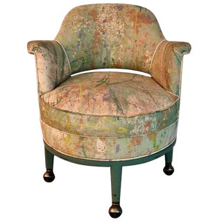 1950s Monterverdi Young Hand-Painted Jack Lenor Larsen Fabric Chair For Sale
