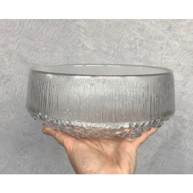 1970s 1970s Finnish Crystal Modern Art Glass Bowl For Sale - Image 5 of 13