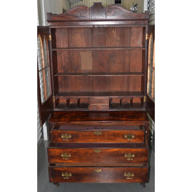 18th to 19th Century Mahogany Secretary w/ Slant Front Writing Desk Superb antique secretary desk made from mahogany....