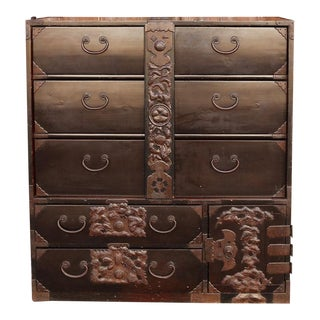 Elaborate Japanese Antique Tansu Dresser For Sale