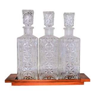 1960s Mid-Century Modern Cut Glass Decanter Set on Wooden Tray - 4 Pieces