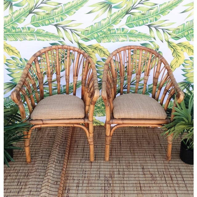 Wicker Vintage Coastal Regency Bamboo Side Chairs Wheat Upholstered Seats -A Pair For Sale - Image 7 of 12
