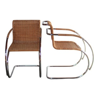 Pair of Mr20 Lounge Chairs With Wicker Seating by Mies Van Der Rohe
