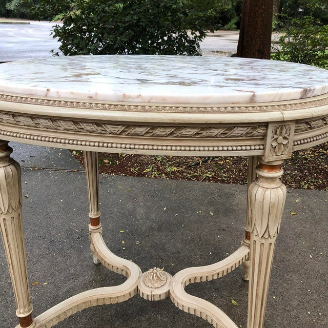 Wood 19th Century French Louis XVI Marble Top Oval End Table For Sale - Image 7 of 11