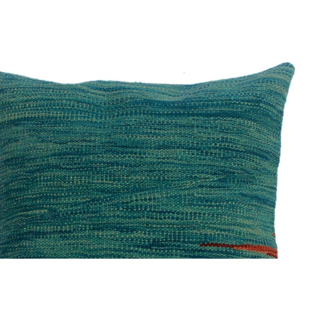 "Asian Destiny Blue/Rust Hand-Woven Kilim Throw Pillow(18""x18"") For Sale - Image 3 of 6"