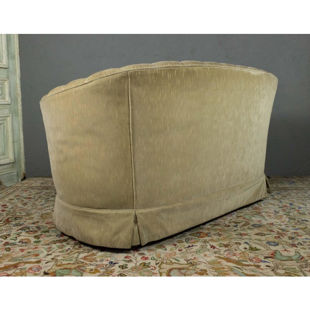 1960s Small Tufted Sofa With Loose Seat Cushion For Sale - Image 5 of 10