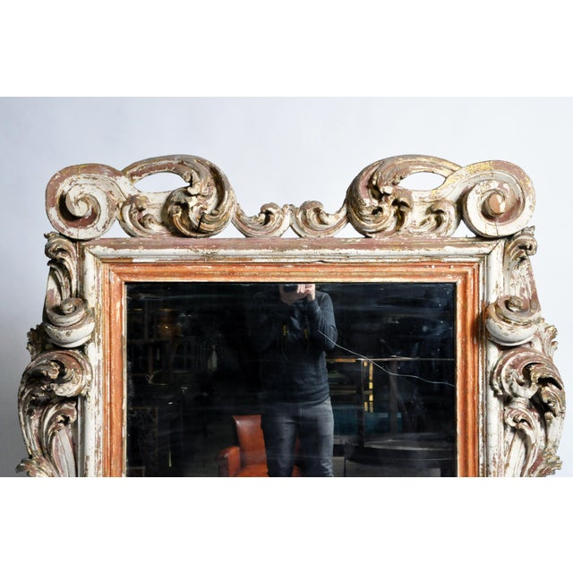 Red 19th Century Italian Mirror With Carved Scroll-Work For Sale - Image 8 of 11