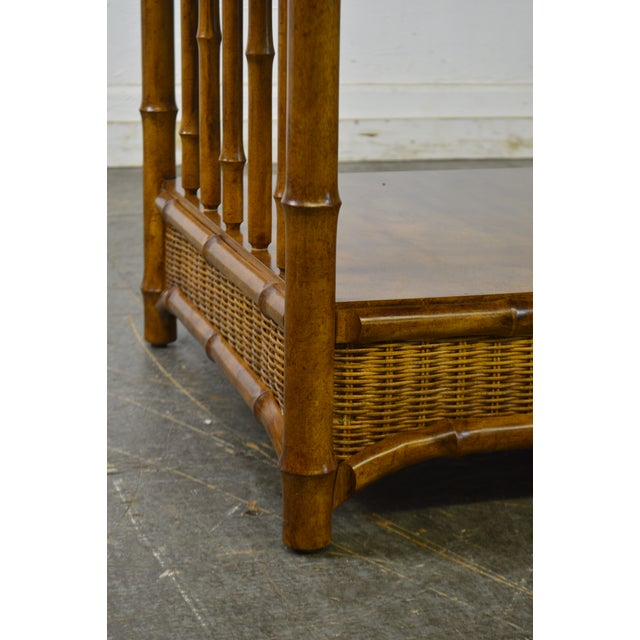 Faux Bamboo & Wicker Side Table by American of Martinsville For Sale In Philadelphia - Image 6 of 13