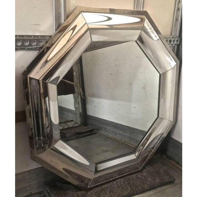 Andre Hayat Octagonal Steel Mercury Curved Glass Spectacular Exclusive Mirror.