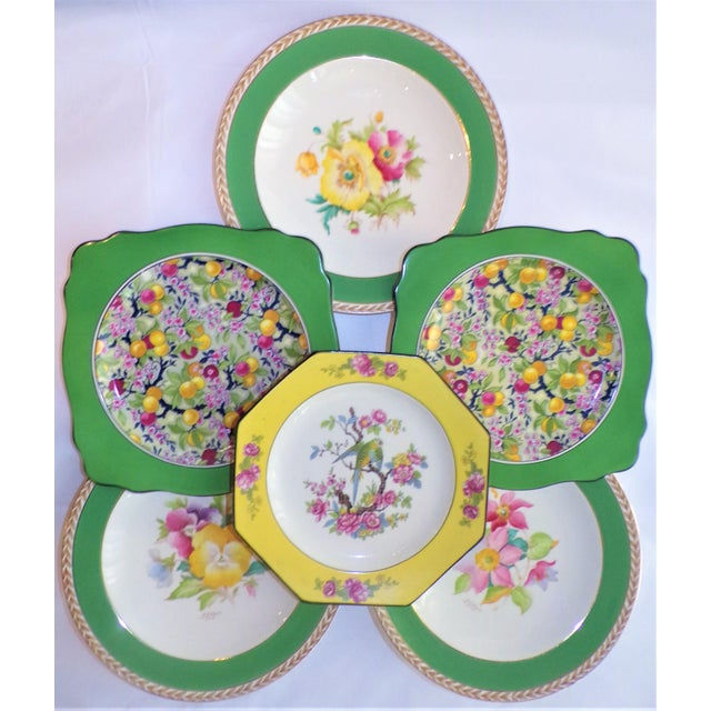 (Final Markdown) 930's Crown Ducal Ware Chintz Plates - Set of 6 For Sale - Image 10 of 13