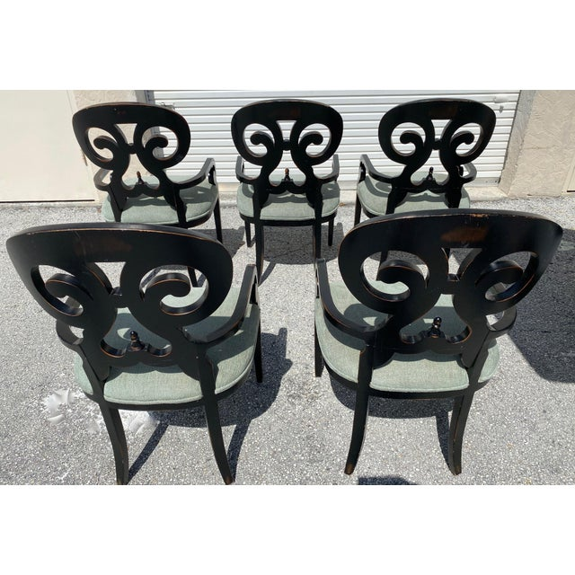 Hollywood Regency Mid Century Modern Wood Dining Chairs - Set of 5 For Sale - Image 3 of 11