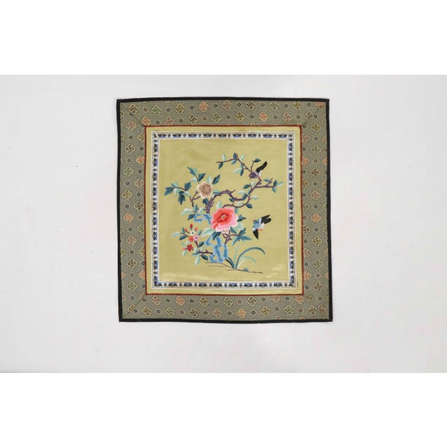 Vintage Asian Antique Silk Embroidery Cloth With Sparrows and Golden Backdrop For Sale - Image 4 of 4