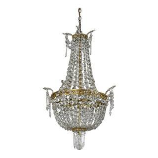 Antique Hollywood Regency-Style Brass and Crystal Basket Chandelier